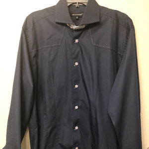 bogosse shirt 4 navy blue cotton flip cuff slim
